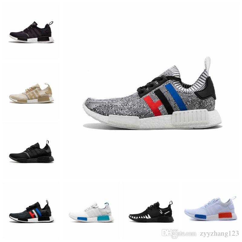 online store a5765 d71fc 2019 NMD R1 Cheap atmos Bred Running Shoes Tri-Color OG Classic Men Women  Japan Triple Black white Red Marble Sports Trainer Sneakers 36-45