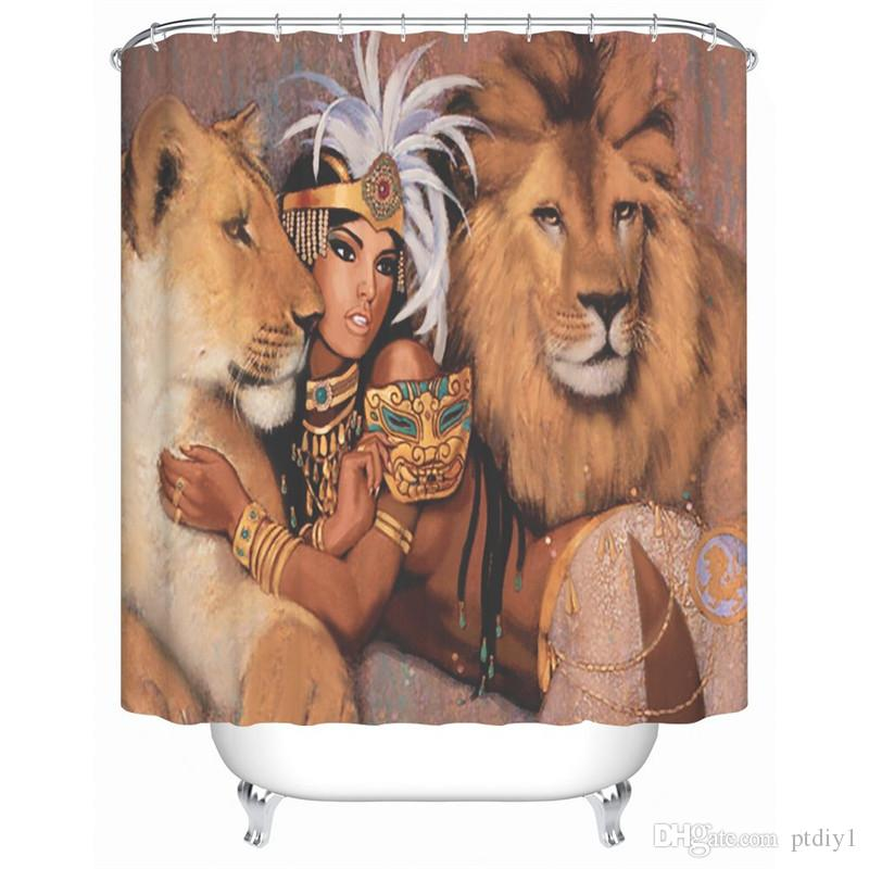 DIY Unique Queen and Lion Design Fabric Shower Curtain Queen with Gold Accessories is Lying and Two Lions is Talking Something to Her