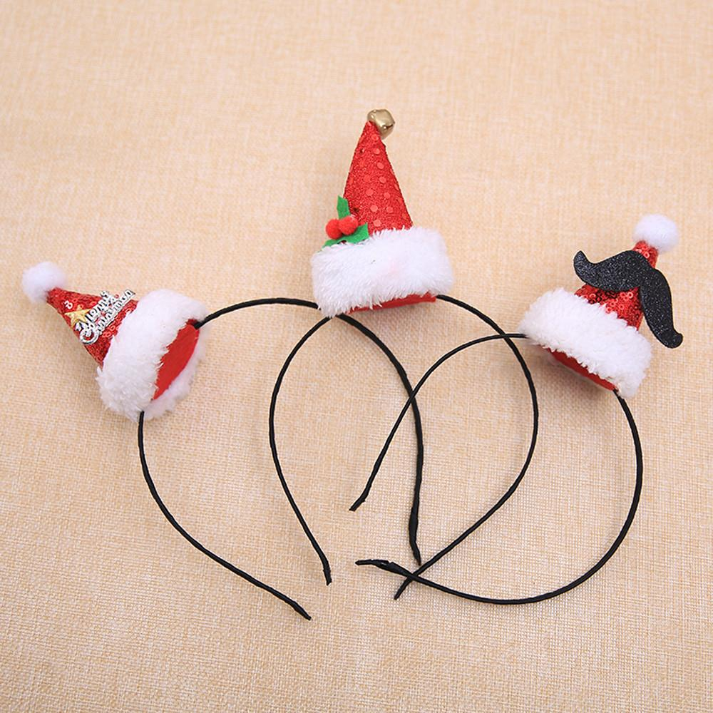 Christmas Headband Craft.Lovely Girls Bows Knot Christmas Hats Hot Christmas Headband Santa Xmas Party Decor Double Hair Band Clasp Head Hoop