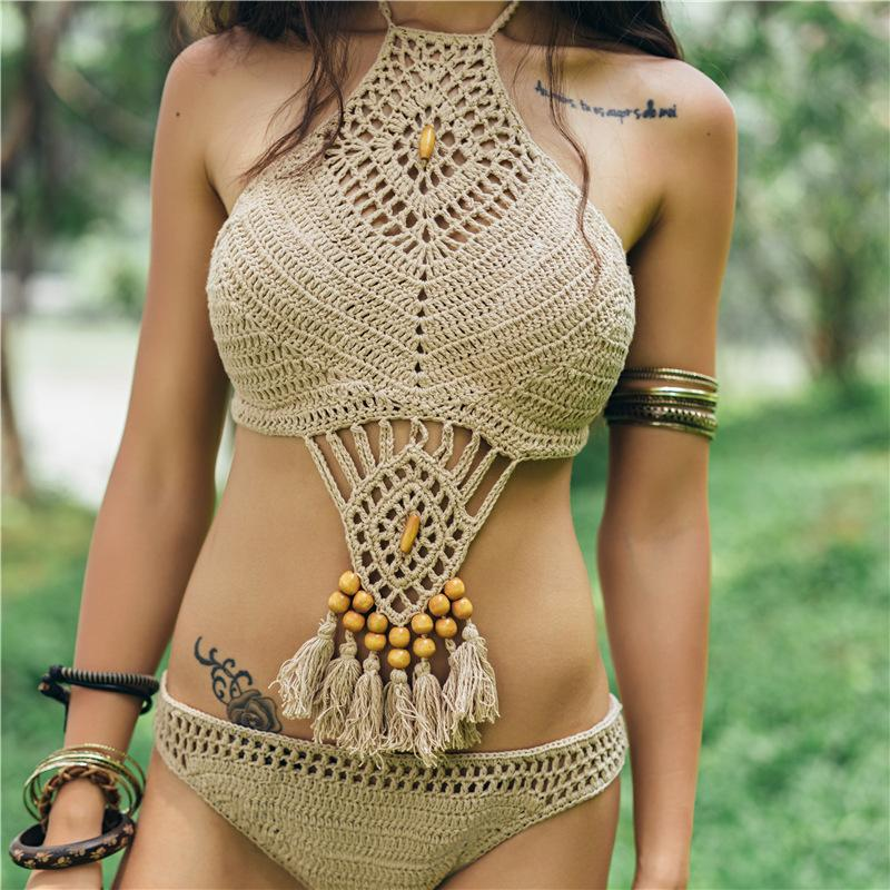 Tasseled Hand Knitted Sexy Openwork Solid Color Crochet Maillot De Bain Knitting Suit Swimsuit Halter Swimwear Women Bathing High Neck High