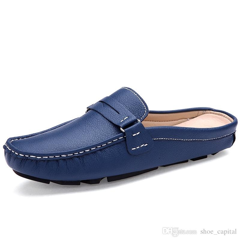 f7843e988589bd Men S Sandals Backless Leather Slippers Shoes Pedal Doug Half Tide Lazy  Summer Mens Driving Loafers D50  187883 Boat Shoes Shoes For Men From  Shoe capital