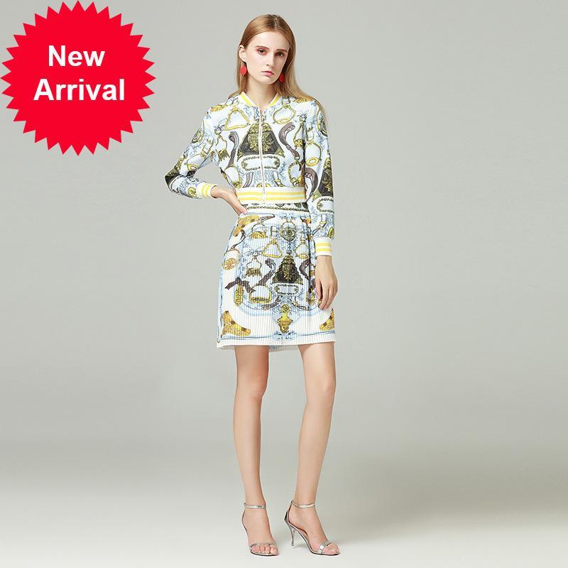 6965c609977e Runway alta calidad otoño impresión redonda camisa de manga larga doblar  media falda Twinset mujeres 2 piezas Set Conjunto Feminino