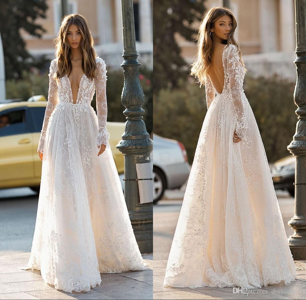 24f9aa622a60 Discount Sexy Open Back Long Sleeve Lace Wedding Dresses A Line Beach Bridal  Gown Illusion Bohemian Vestido De Novia A Line Vintage Wedding Dresses  Empire ...