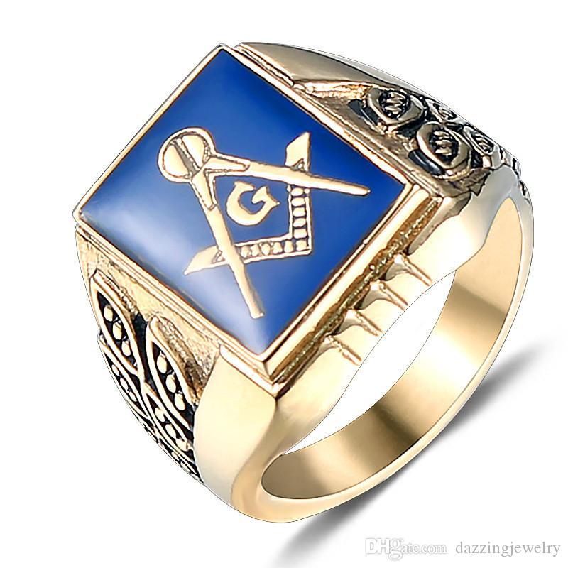 Men s Punk Dark Blue Resin Enamel Stainless steel Black Masonic regalia  signet rings Freemason jewel Fraternity freemasonry item gifts