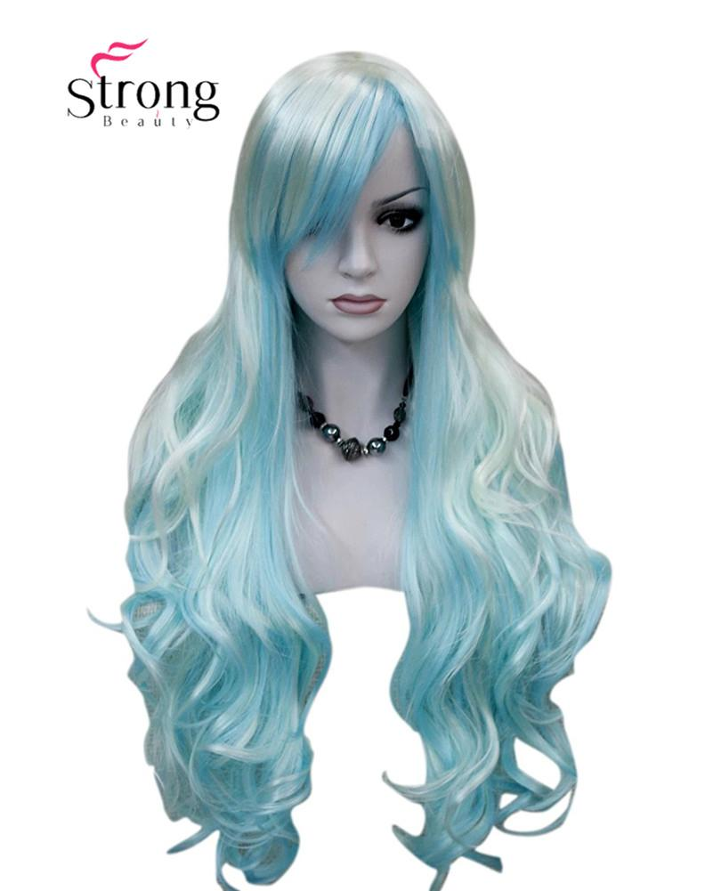 Women s Wigs Long Curly White Blue Cosplay Wig Synthetic Hair Cosplay Wigs  Women Wigs Ombre Wigs Long Wavy Wigs Online with  23.79 Piece on Lili614 s  Store ... 4172d997fb