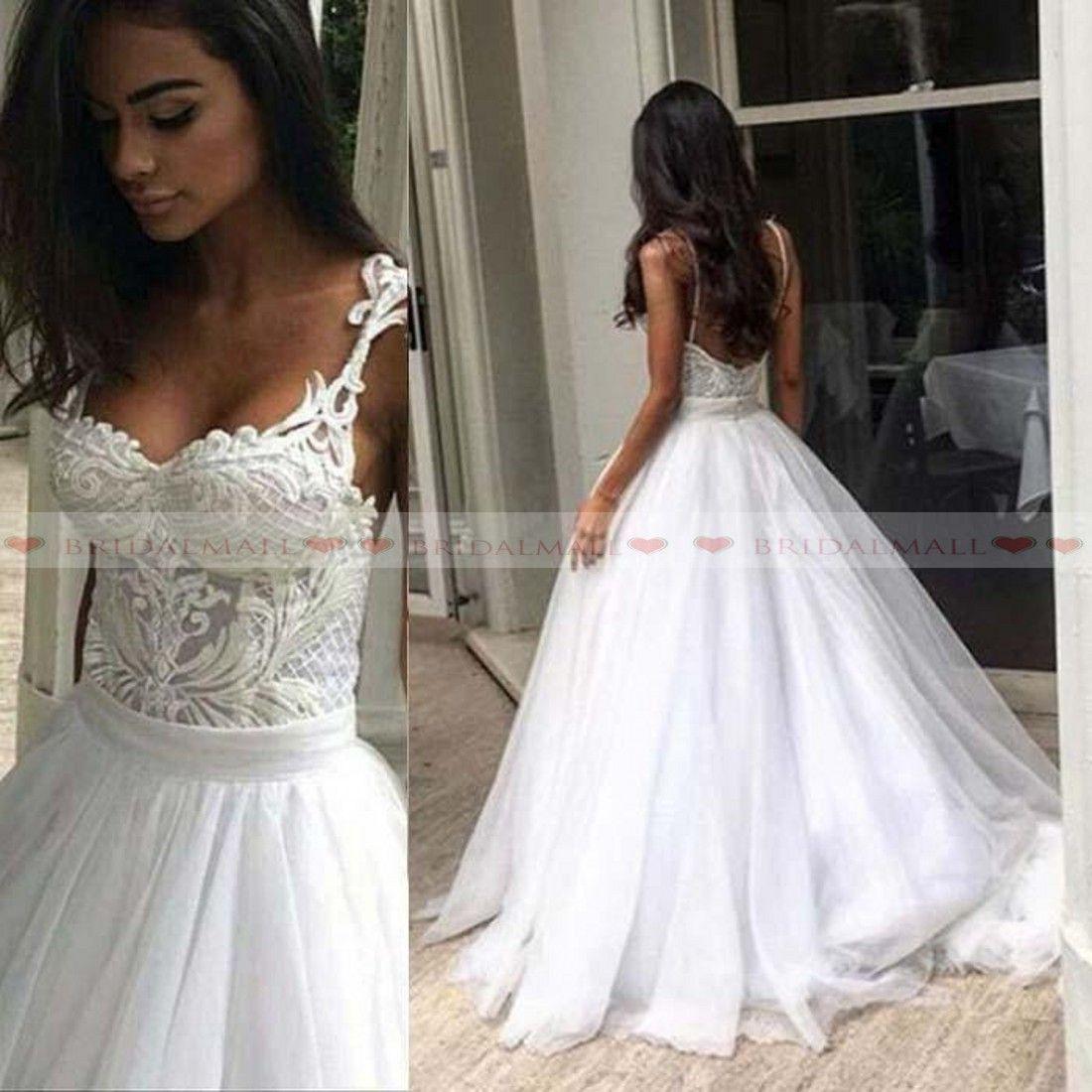 5fd94339d Discount Unique 2019 Appliques Lace Tulle Long A Line Wedding Dresses  Spaghetti Straps Beach Boho Bridal Gowns Vestidos De Novia Cheap Bride Dress  Knee ...