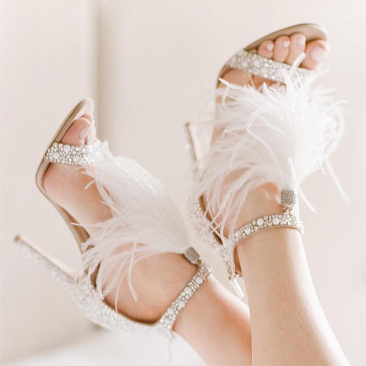 Woman Stiletto Sandals New Bridal Wedding Shoes Luxury Crystal Embellished White  Feather Fringed Rhinestone High Heels Tan Wedges Fringe Sandals From ... 2886c4e9bcac