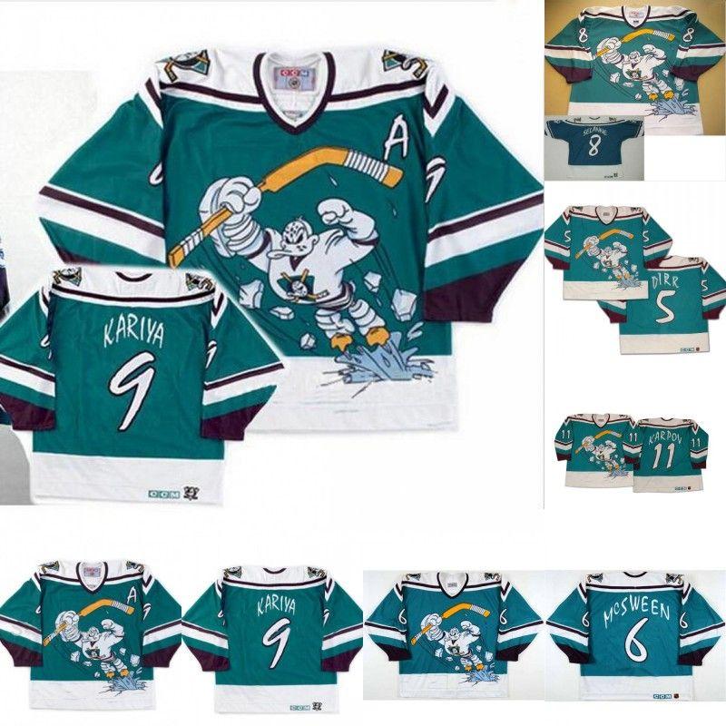 check out c71da fde4e 1995-96 Anaheim Mighty Ducks Wild Wing Jersey 5 DIRK 6 Don McSween 8 Teemu  Selanne 9 Paul Kariya 11 Valeri Karpov Custom Hockey Jerseys
