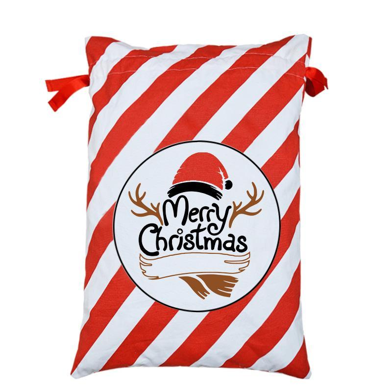 New Santa Claus Gift Bags Xmas Gift Mailing Bags 50*70cm Canavs Drawstring Bag Santa Sack Christmas Candy Bag for Kids