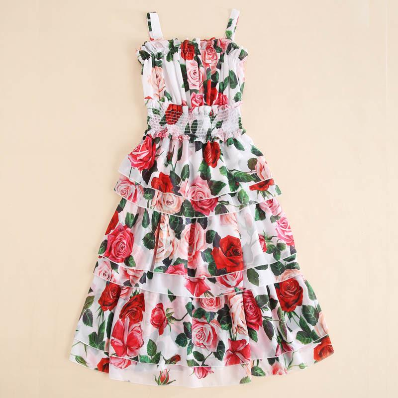 Women Girls Rose Floral Summer Dress 2019 New Spaghetti Strap Ruffles Layered Cake Chiffon Long Midi Cute Dresses