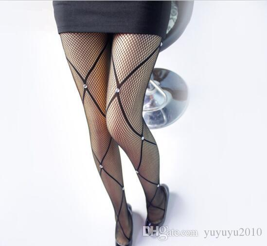 Summer Fishnet Diamond Pantyhose Women Sexy Fashion Shiny Net Tights Female Slim Rhinestone Mesh Nylon Stockings Tights sffs005