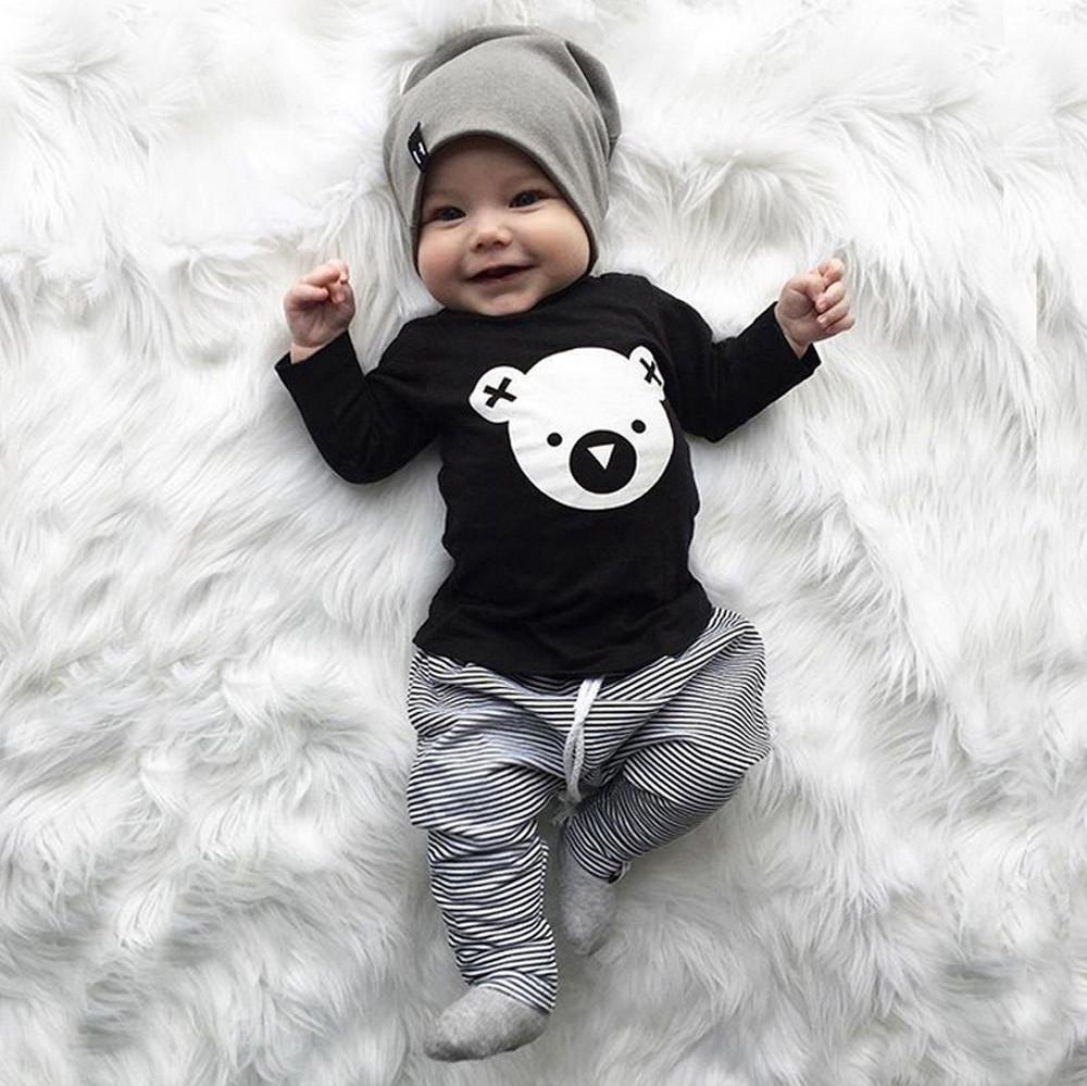 79aeed009fc6f Acheter Bonne Qualité Ensemble De Vêtements Pour Enfants Cartoon Koala T  Shirt Tops + Pantalons À Rayures Vêtements De Bébé Garçon Nouveau Né Bébé  Garçon ...