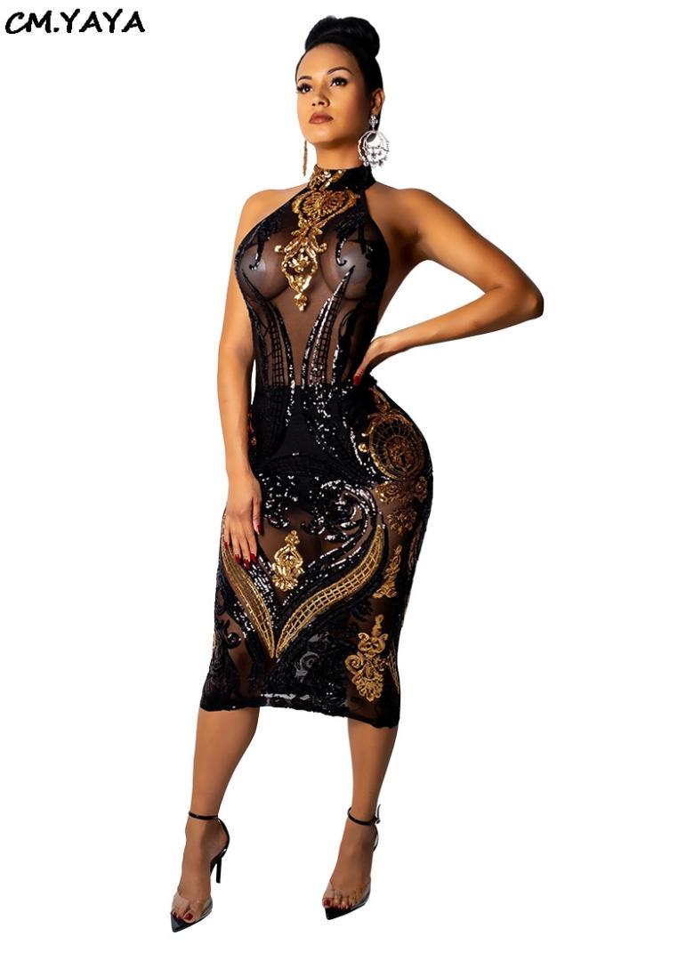 55de5144fc6 New Winter Spring Women Sleeveless Halter Sequins Mesh See Though Bodycon  Bandage Nigh Club Party Sexy Midi Dress Vestido CY8014 Short Black Dresses  Brides ...