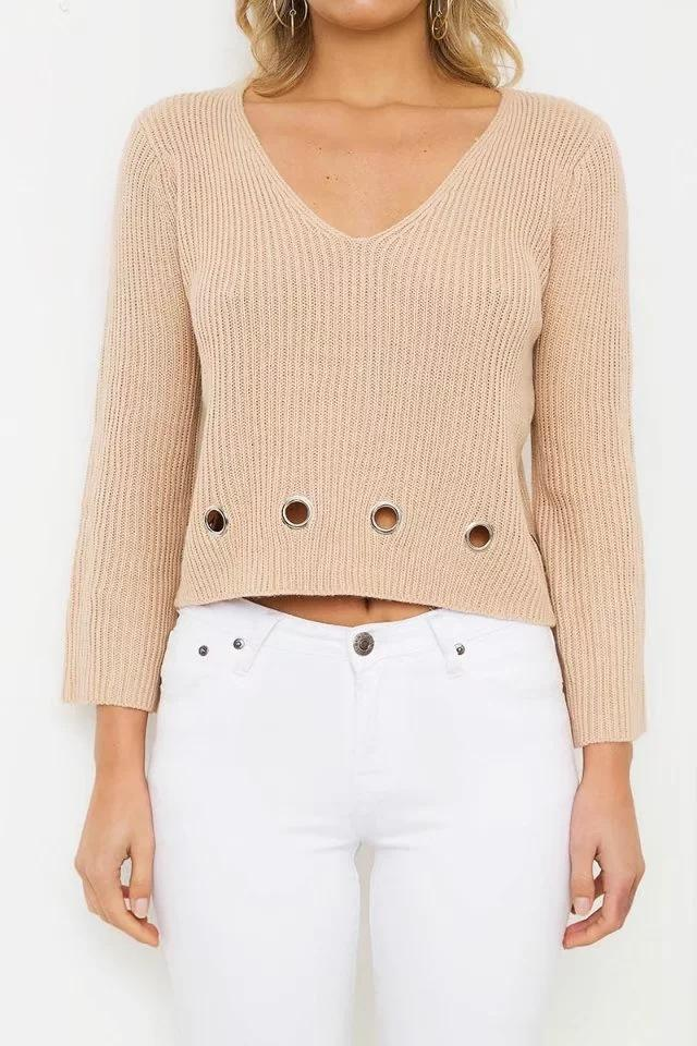 New EU & American Style Women's sweater Long Sleeve Knitwear Jumper New Casual Short Sweater For Autumn Winter