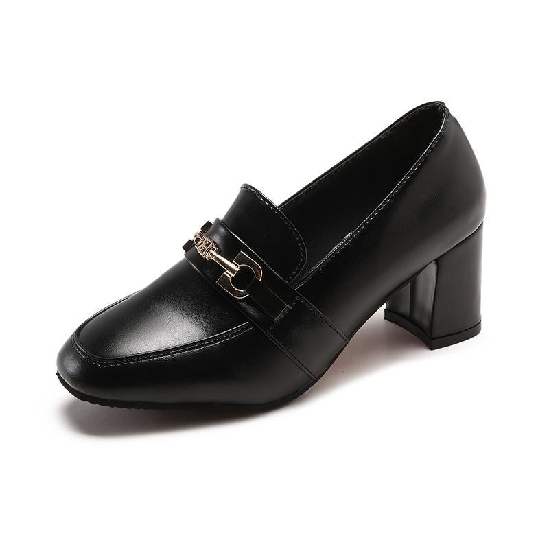 Mujer 2019 Slip Nuevos Otoño De On Decorar Clásicos Cuadrados Altos Dama Vestir Tacones Metal Zapatos Dedos Primavera Pumps c5Lq43jAR