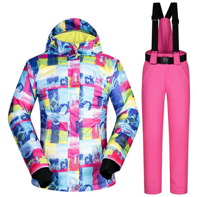 Купить Оптом Зимний Лыжный Костюм Женщины Бренды Лыжные Наборы Одежда Ветрозащитный  Водонепроницаемый Открытый Пальто FUWEN Снег Брюки Лыжи И Сноуборд ... 3c8ae82aab9