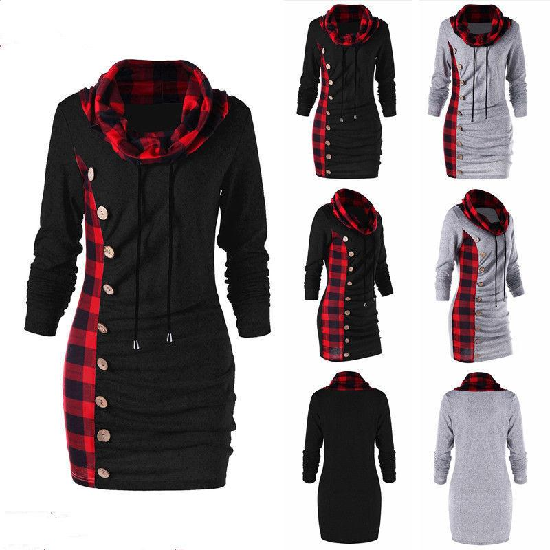 d2d552a64f2 2019 Cowl Neck Tunic Plaid Trim Casual Button Sweatshirt Dress Autumn Long  Sleeve Sheath Bodycon Dress Long T Shirts DRESSES Hoodie Plus Size From  Good case ...