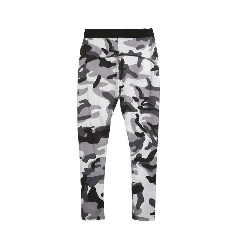 Moda delgado ocasional de la camisa de manga larga flaco de las mujeres activos Tops Pantalones de camuflaje de impresión Sportwear determinada del entrenamiento de fitness polainas