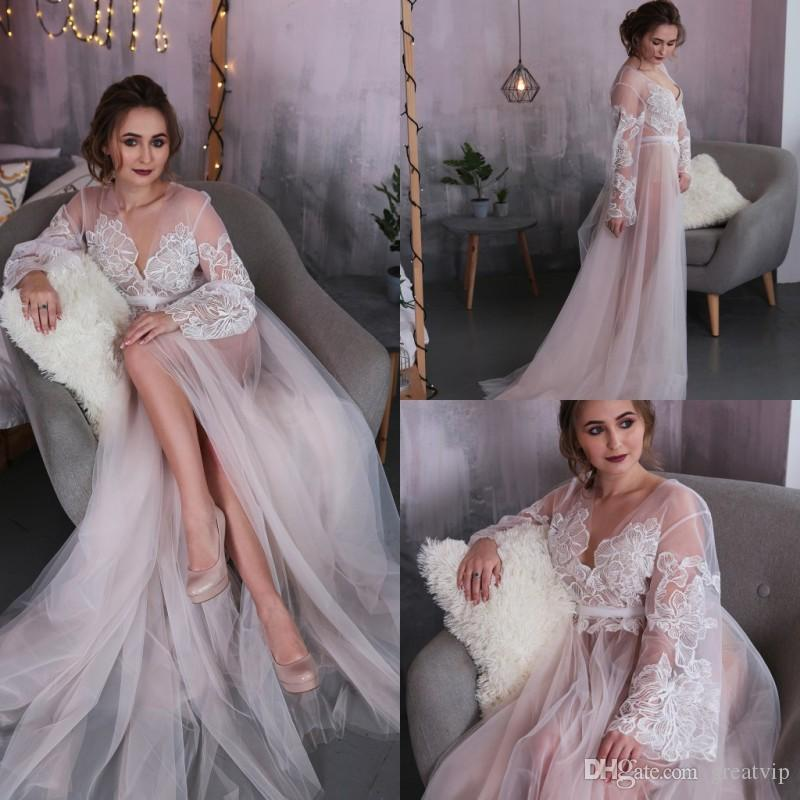 18d2aecee 2019 Sexy Wedding Robes Gown Sets For Women Deep V Neck Lace Appliques  Custom Long Sleeve Lingerie Bridal Sleepwear Nightgown Bathrobes From  Greatvip