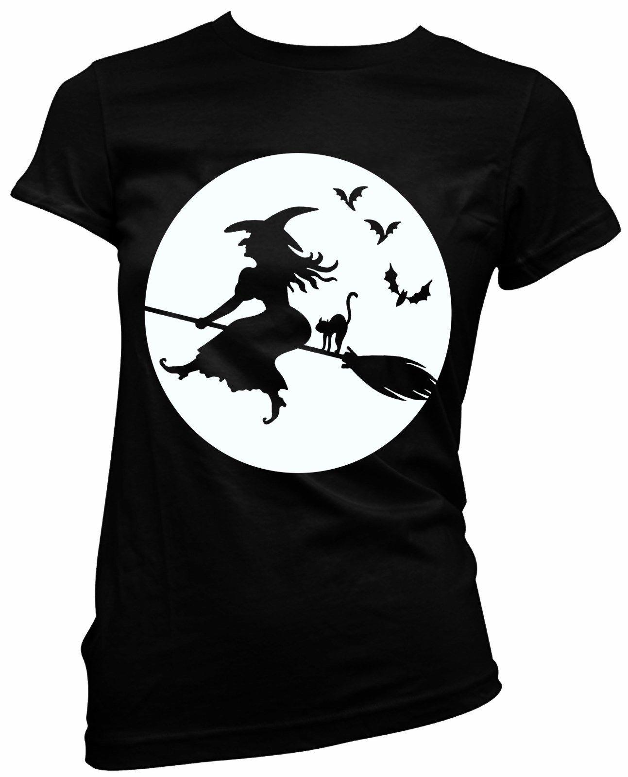 Halloween Witch broomstick full moon black cat ladies fitted t shirt fancy  dress Men Women Unisex Fashion tshirt Free Shipping
