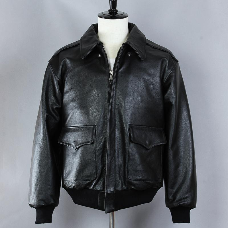 66852ac8802 2019 Avirex Fly Black Flight Jacket CowSkin Genuine Leather Jacket Men A2 Bomber  Leather Male Winter Coat From Baica
