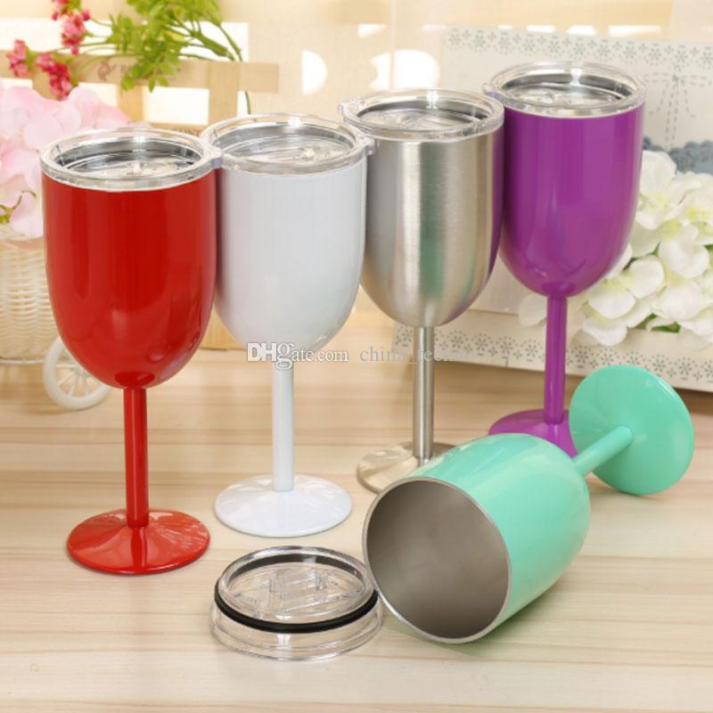 a4aa7a07391 10oz Wine Glasses Stainless Steel Insulated Tumbler With Clear Lids Double  Wall 10 Oz Tumblers Mug Wine Cups DHL Shipping Branded Water Bottles Promo  Water ...