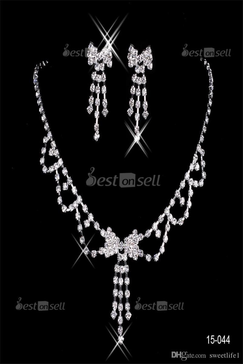 15044 Design Elegant Silver Plated Pearl & Rhinestone Bridal Necklace & Earrings Jewelry Set Cheap Accessories for Prom party 15036