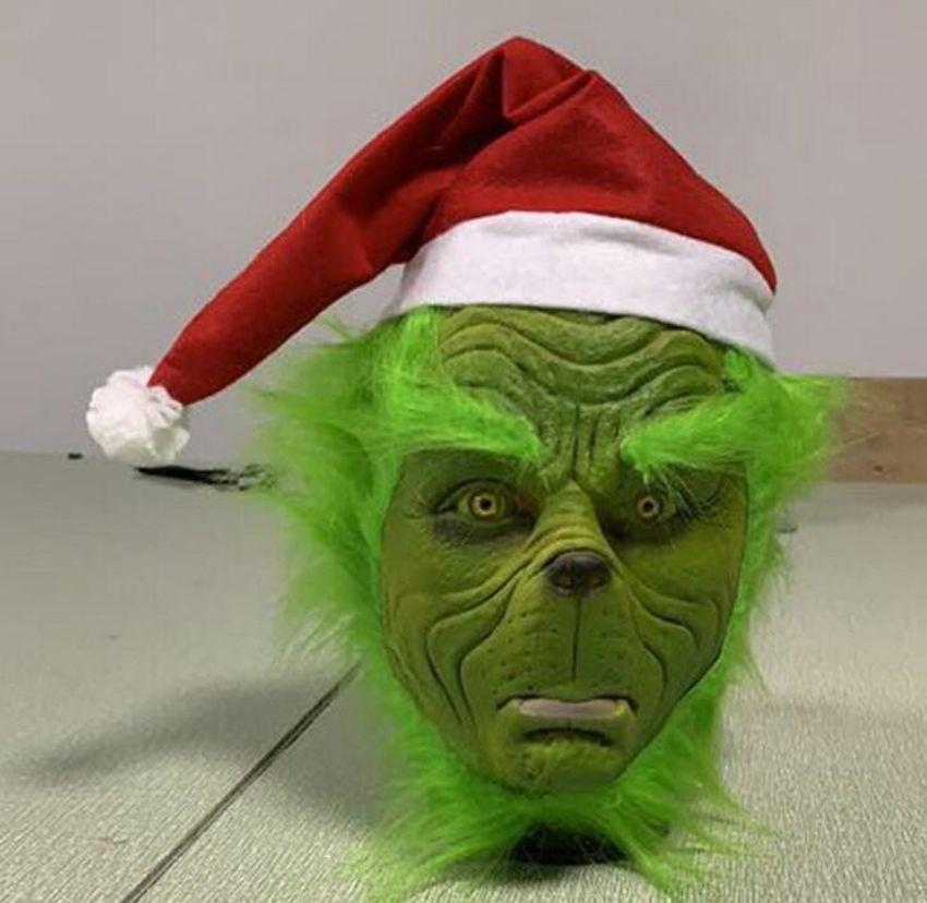 Christmas Grinch.Funny Grinch Mask How The Grinch Stole Christmas Hat Head Mask Party Cosplay Natural Latex Mask Props Kka6372