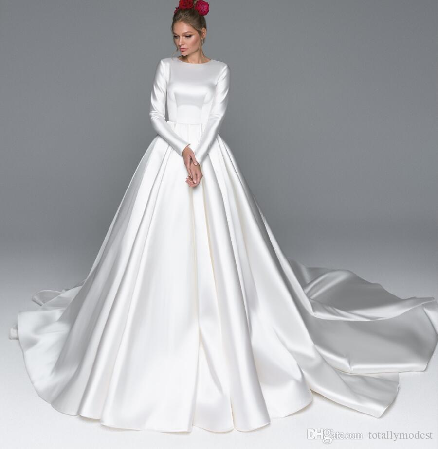 Discount 2019 New A Line Satin Modest Wedding Dresses With
