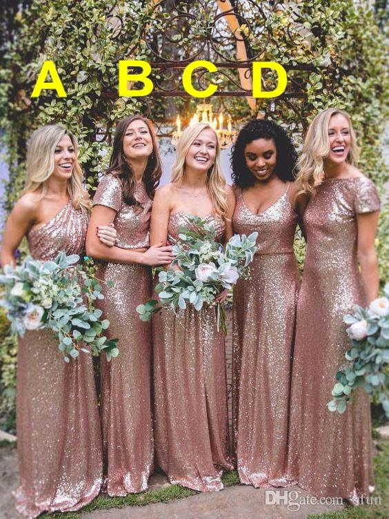 Rose Gold Sequined Bridesmaid Dresses Four Style A Line Mermaid Wedding Guest Dresses Custom Made Maid Of Honor Dress