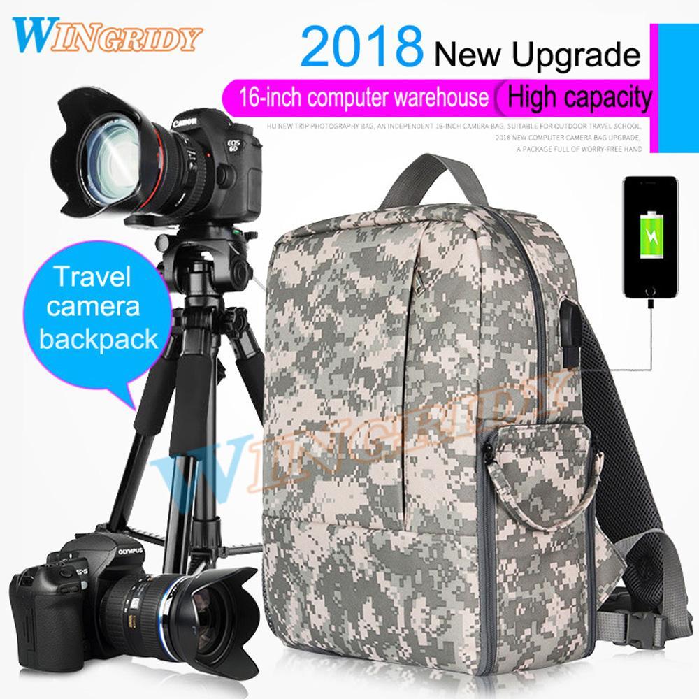 405d8d5cda17 Camo CameraBag Photo Camera SLR DV Camera Waterproof Bag Travel Bag  Shoulder portable Case DSLR Photo Backpack Gray/Black