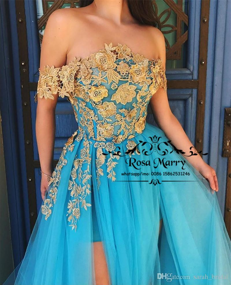 Sexy Off Shoulder Gold Lace Prom Dresses 2020 A Line Plus Size High Split Cheap Arabic Girls Engagements Evening Party Gowns