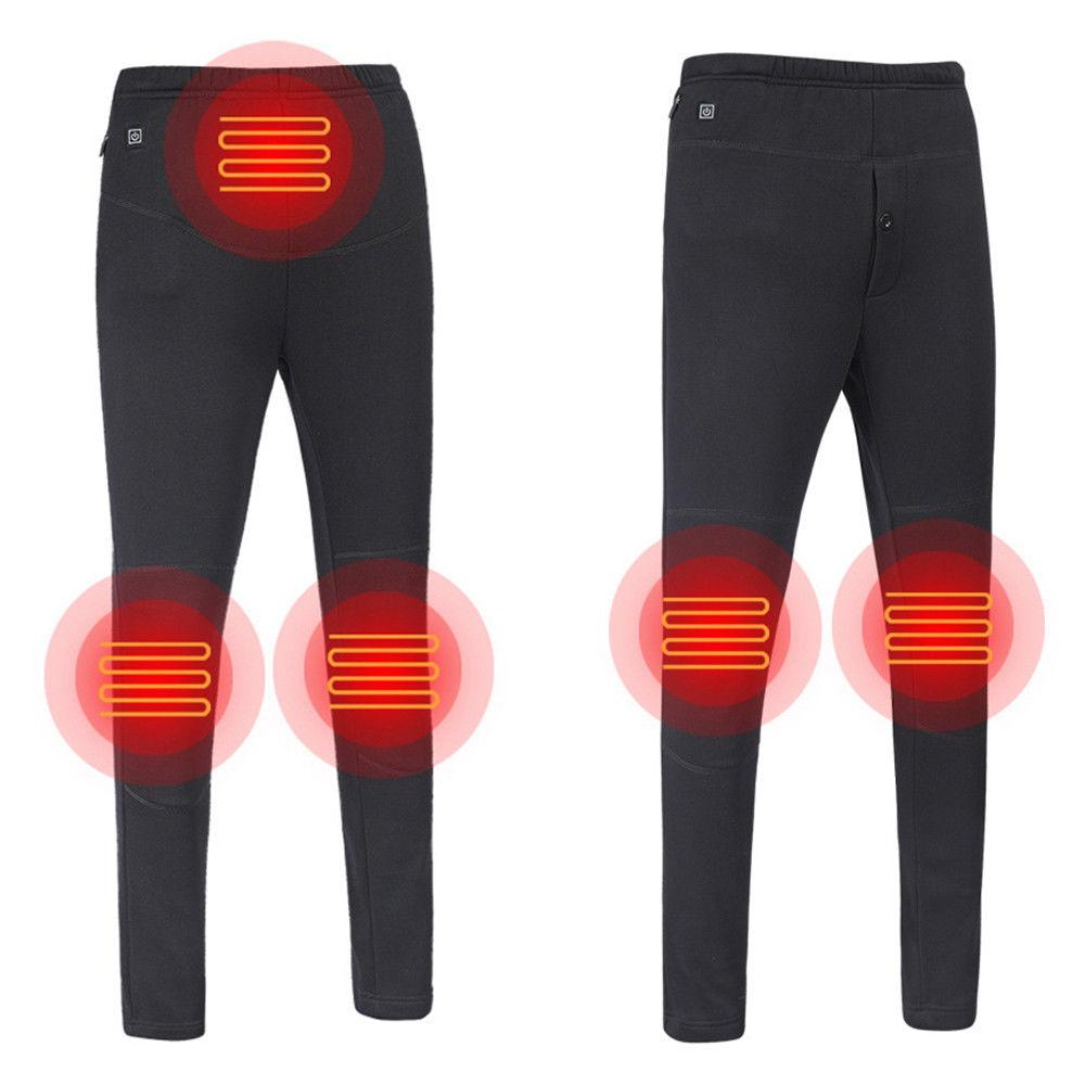 2019 New Fashion USB Electric Heated Pants Mens Womens Warm Heating Base Layer Elastic Trousers Plus Size S-5XL