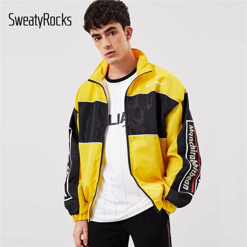 b2f6c7829 SweatyRocks Men Contrast Panel Letter Print Windbreaker Jacket Streetwear  Outerwear Zipper 2019 Fashion Casual Jackets And Coats Jackets Styles Denim  Coat ...