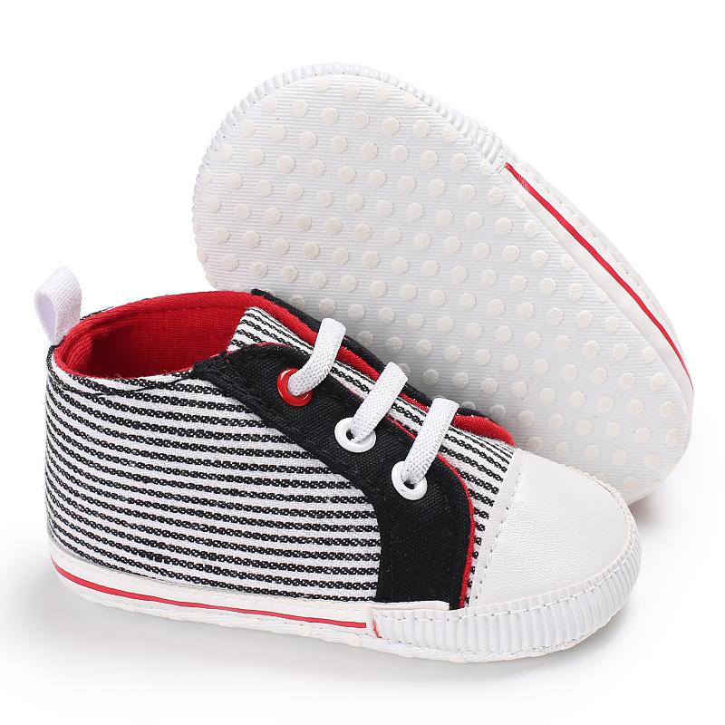Cute Newborn Baby Boys Girls Pre-Walker Multi Color Sole Pram Shoes Striped Canvas Trainers Shoes
