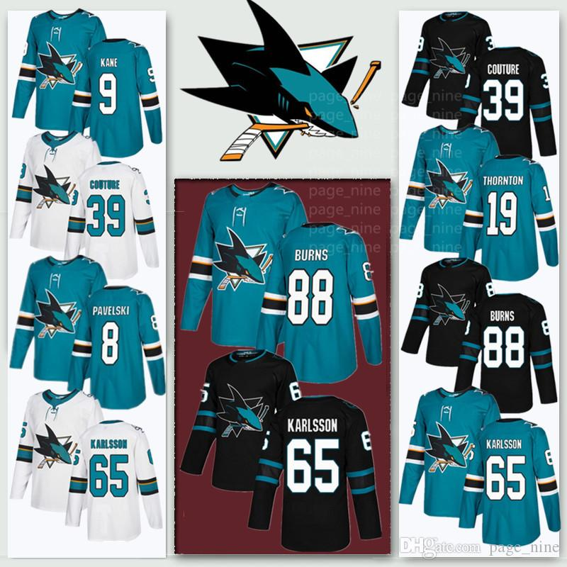 San Jose Sharks maglie 65 Erik Karlsson 88 Brent Burns 8 Joe Pavelski 9 Evander Kane 19 Joe Thornton 39 Logan Couture jersey