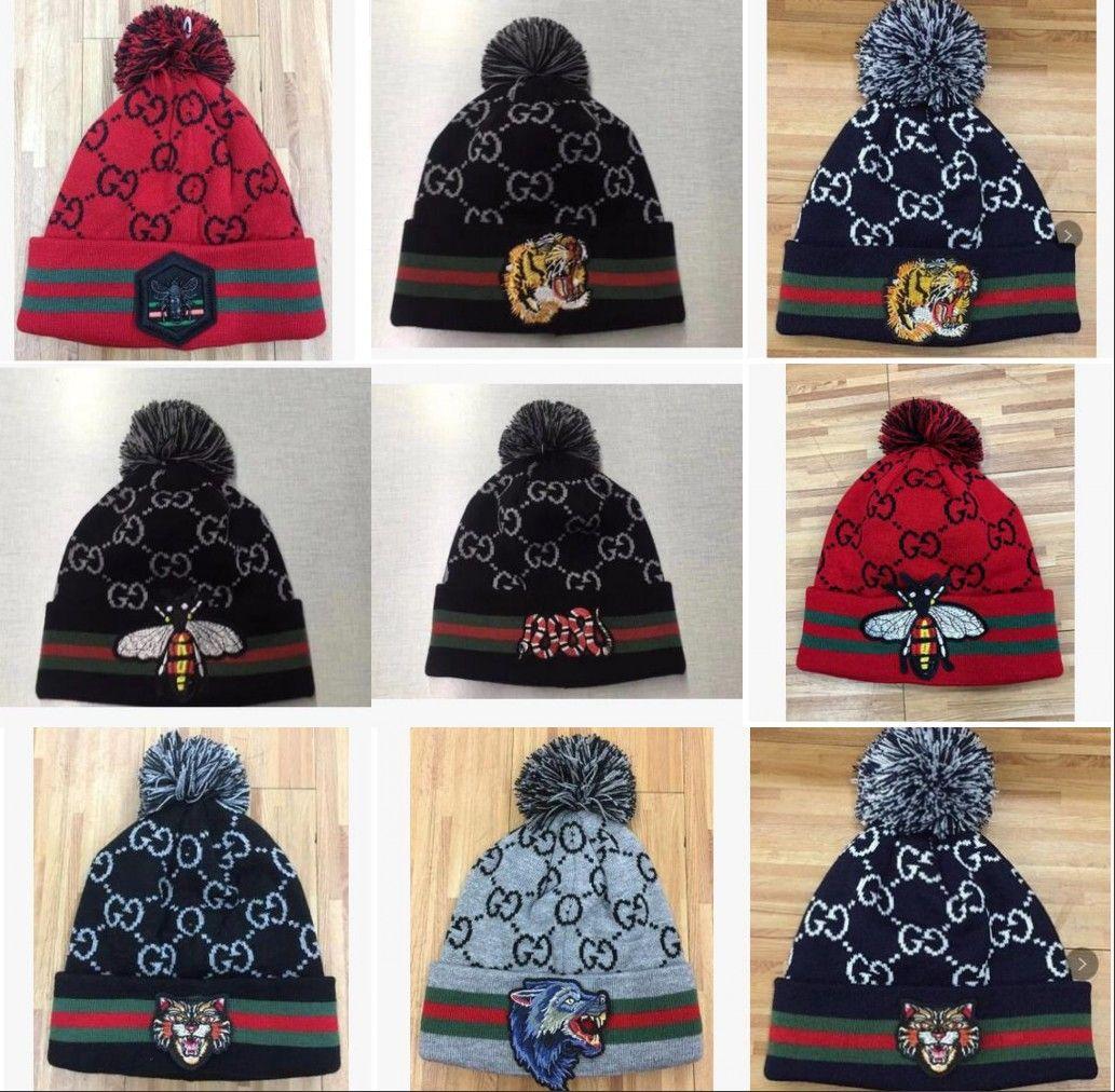 Unisex Winter Luxury Beanies Brand Fashion Bee Snake Men Knitted Hat Beanies  Women Keep Warm Casual Wool Rattlesnake Pom Pom Skull Caps Baseball Cap  Slouchy ... 40e0db93399