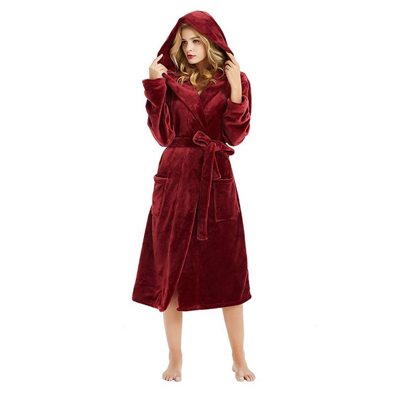 4c7da3fffc 2019 Women S Hooded Thick Robes Plush Soft Cashmere Warm Long Bathrobe  Plush Kimono Sleepwear Nightgown Winter Robes With Pocket  40 From  Redbud01