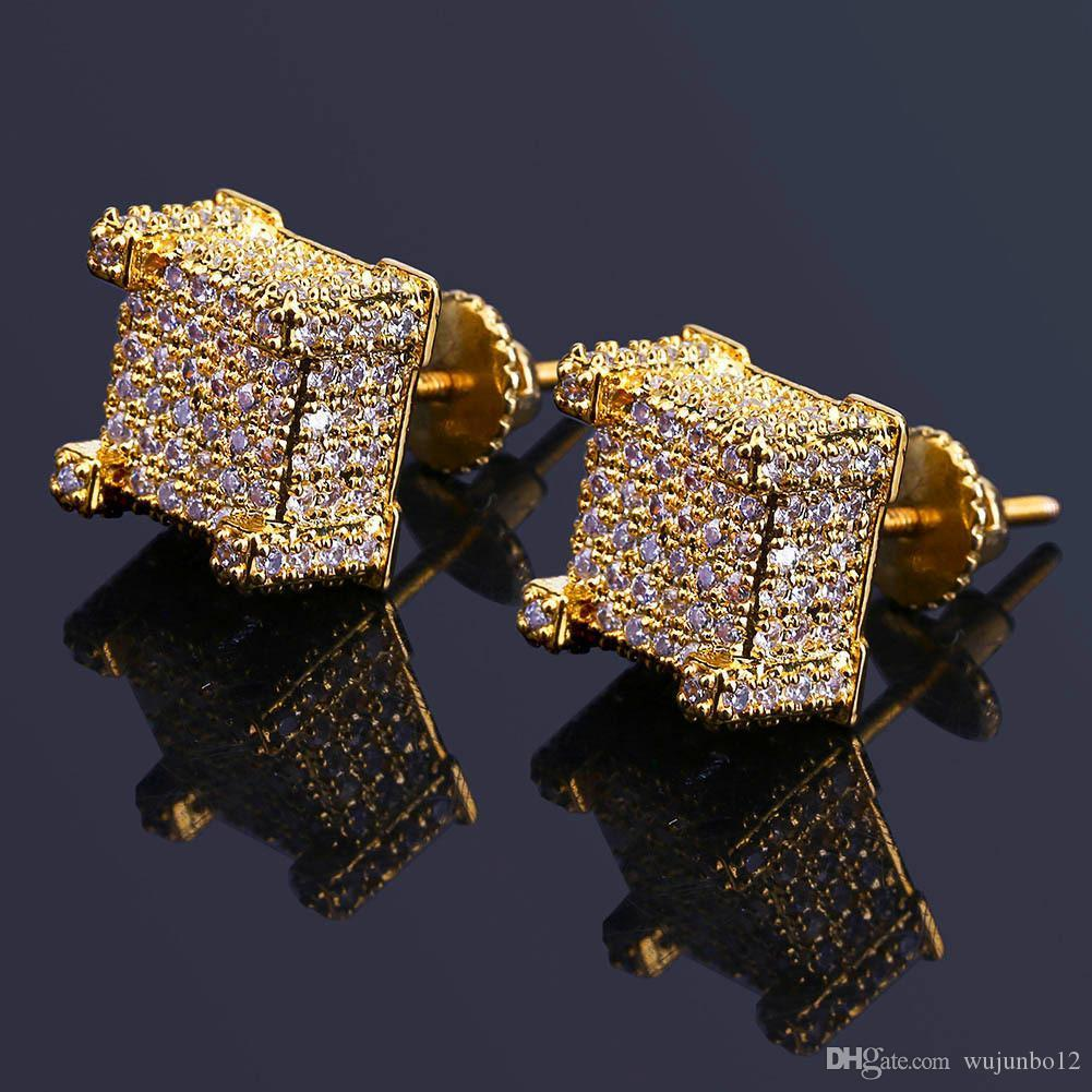 2019 Hiphop Gold Plated Earrings For Men Bling Cubic Zirconia Hip