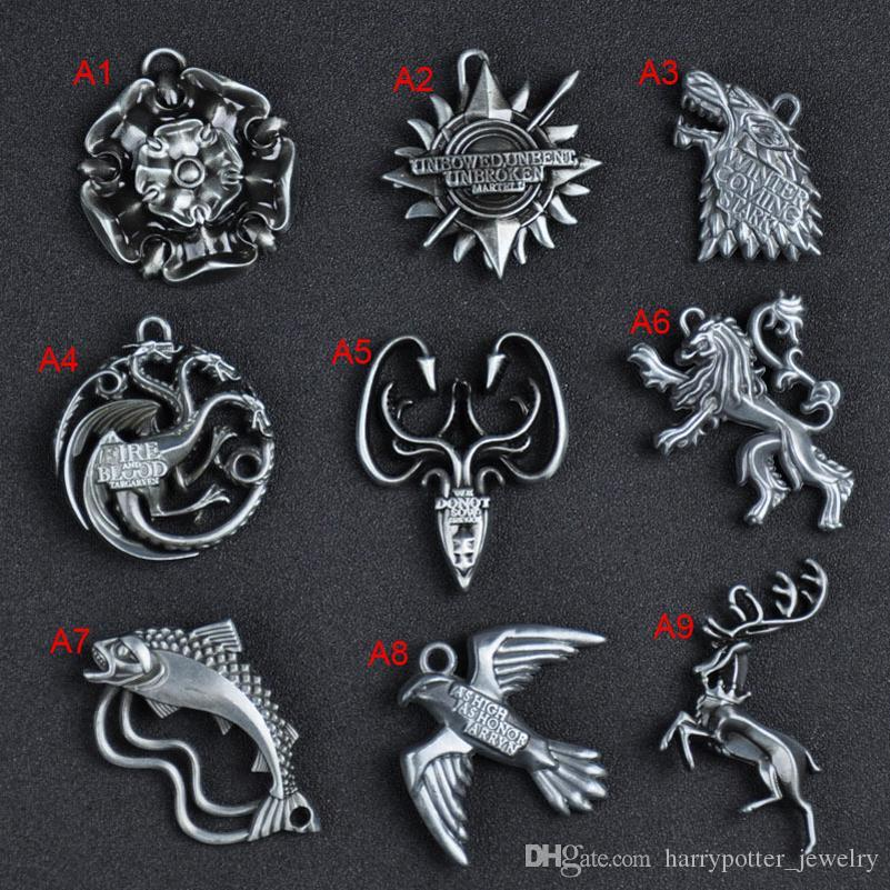 Game of Thrones House House Stark Lannister Targaryen Baratheon Wolf Dragon Keychain Key rings fashion Jewelry 2020 hot sale