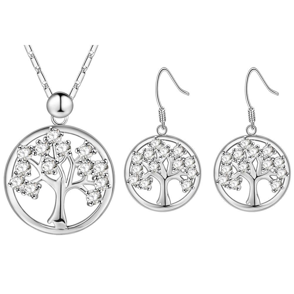Weihnachtsbaum-nette Schmuck-Set 925 silberne geometrische Ohrringe / Halsketten-Schmuck-Satz für die Frauen, die Geschenk T605 lieben