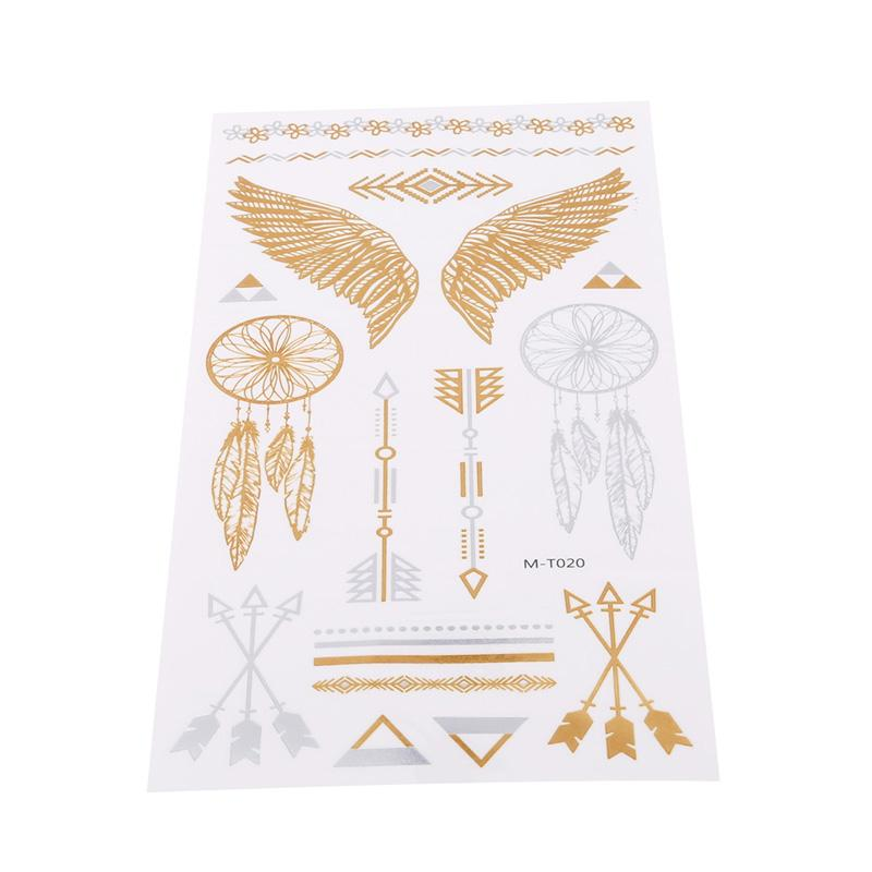 Vintage Temporary Tattoo Stickers Women Kids Body Art Star Feather Golden Metallic Water Transfer Flash Tatoo Child