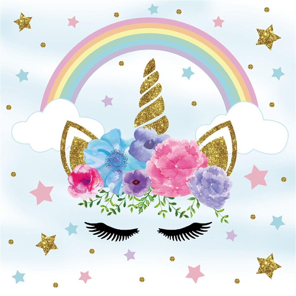 2019 laeacco flower rainbow unicorn party baby children photography backgrounds customized photographic backdrops for photo studio from joyousa