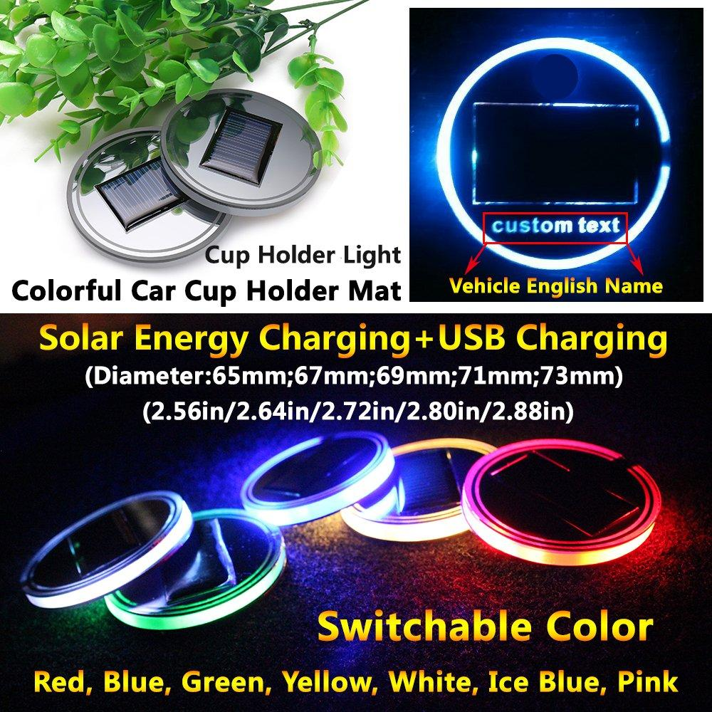 2020 Solar LED Car LOGO Cup Holder Pad Mat For Audi BMW