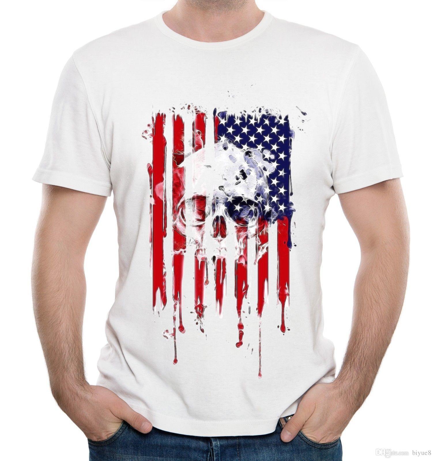 Compre Legal Dos Homens Do Crânio Americano Camiseta Rock Band EUA Orgulho  Bandeira S 3XL Manga Curta Camiseta Verão Estilo Moda Masculina T Camisas  Top Tee ... 3854c32c7cc42