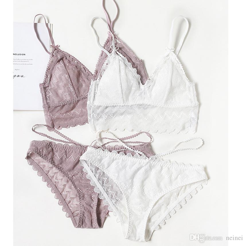f2e00e0b45a2 2019 Cup Triangle Wire Less Cotton Cup Bra And Panty Set Lace Sexy  Sleepwear Women Sexy Underwear Lingerie Young Girls Bralette Panties From  Neinei, ...