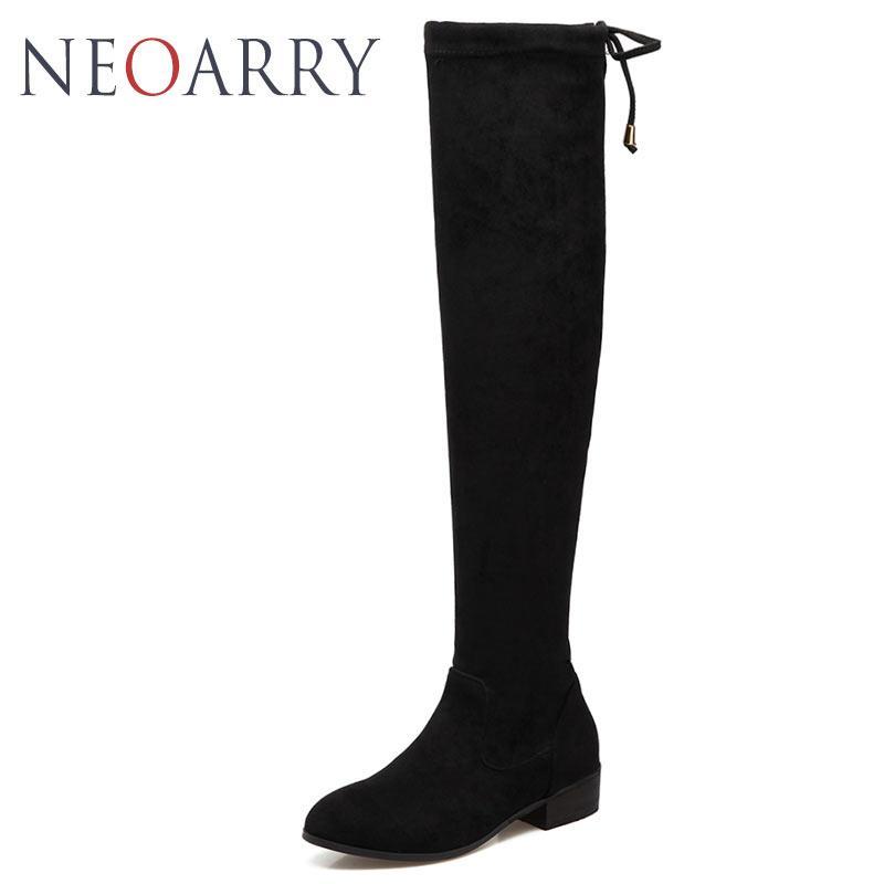 ba79e70c5 Compre Neoarry 2018 Coxa Botas Altas Femininas Botas De Inverno Mulheres  Sobre O Joelho De Salto Baixo Estiramento Sexy Moda Feminina Sapatos T933  De ...