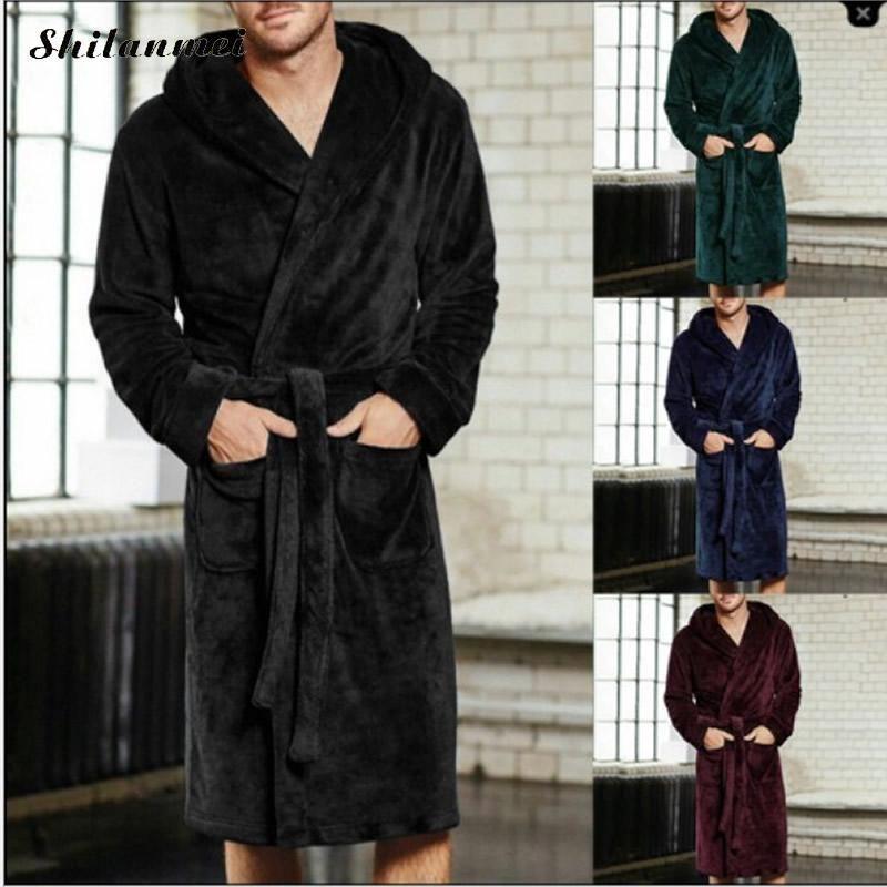 Men Luxury Winter Bathrobe Female Warm Silk Flannel Long Kimono Bath Robe Bathrobes Night Gown Robes