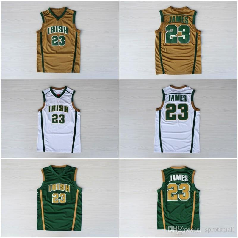 brand new 8acd4 fb25d #23 LeBron James Basketball Shirts Top Quality Stitched LeBron James Irish  High School Basketball Jersey S-XXL
