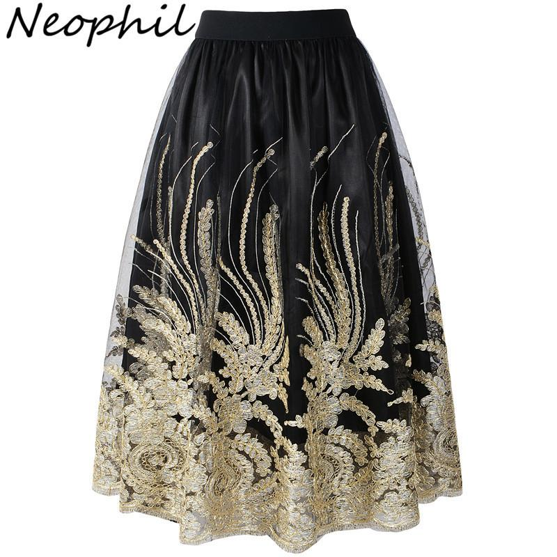 71c0b95c975b2 Neophil Retro Ladies Embroideried Floral Sequins High Waist Tulle Skirts  Women 2019 Summer Ball Gown Mesh Jupe Tulle Femme S1710 J190427